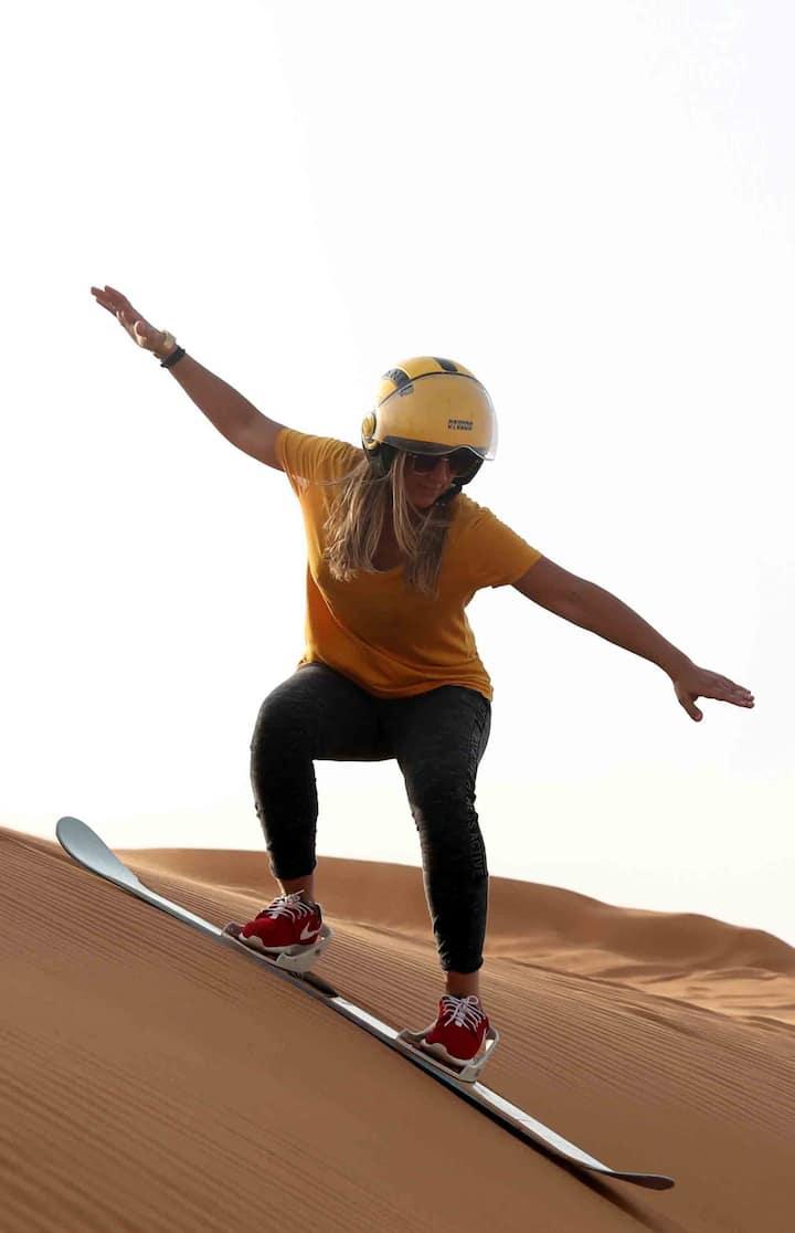 Sand surfing @Dubai Desert