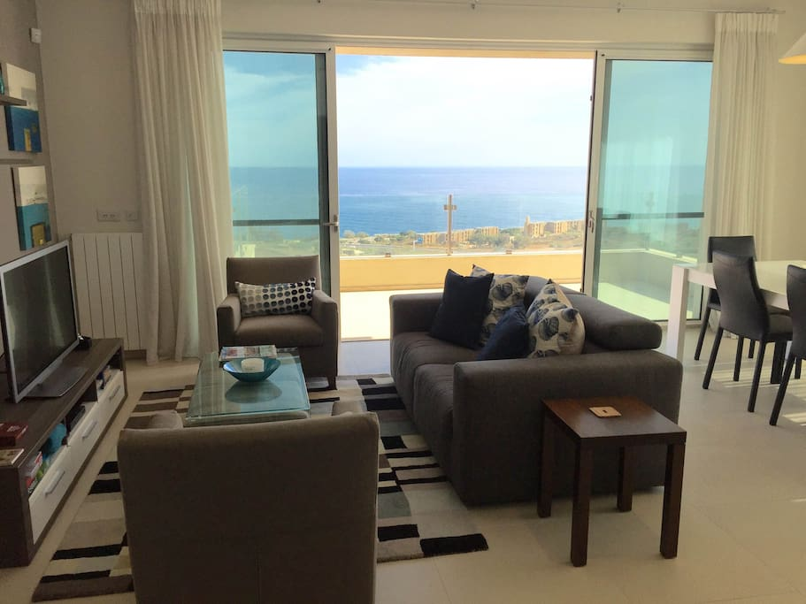 Main living room with amazing sea views.