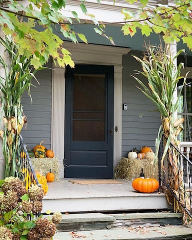 The fall porch ready for your autumn holidays