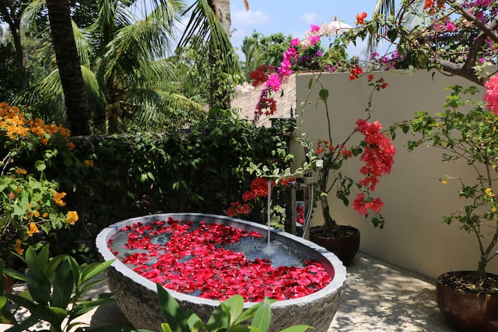 Bathing under the sun, the moon, the stars and the rains.  Rose petals and essential oils to take it all in ~ wow.
