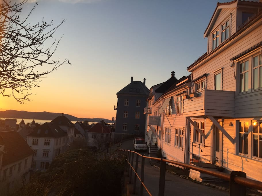 Enjoy the beautiful sunsets in the most traditional streets of Bergen