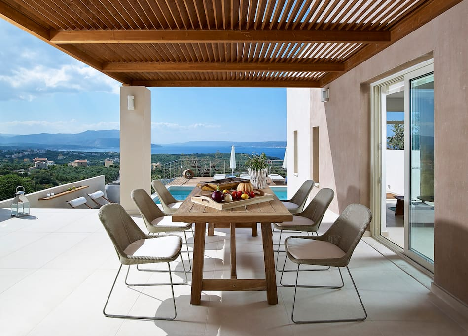 Outdoor dining area with incredible views to Souda Bay