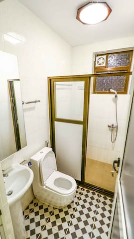 Toilet with shower area.
