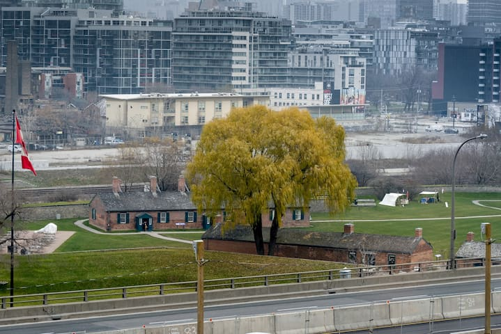 View of the Garrison Common park and Fort York national historic site.