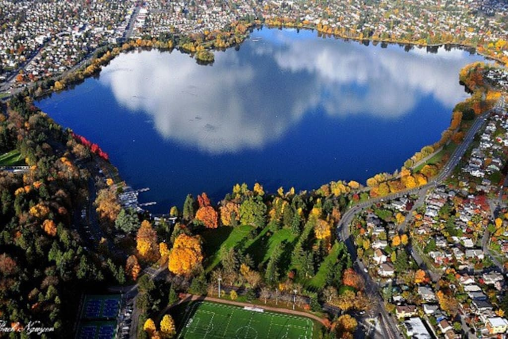 We are located right in the middle of the right side of this photo of Seattle's beautiful Green Lake neighborhood.  At the top-right is Green Lake's commercial district with lots of cafes and restaurants.  At the bottom of the photo is the 9-iron community golf course and forested Woodland Park.