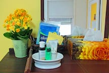 amenities for guests in bedrooms and bathroom.