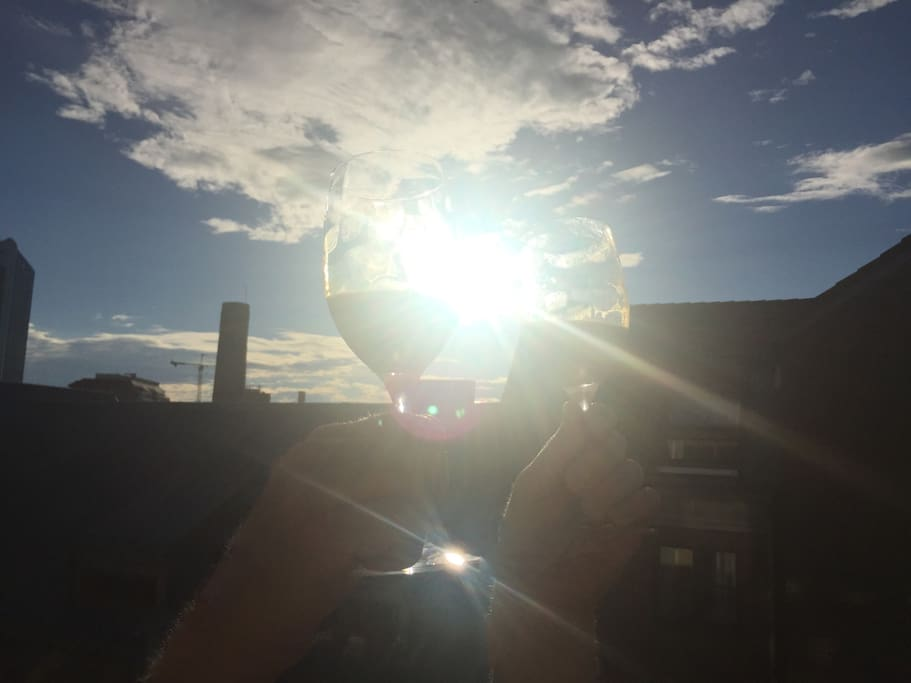 """Cheers on the balcony! Or """"Skål"""" as we say in Norway :-)"""