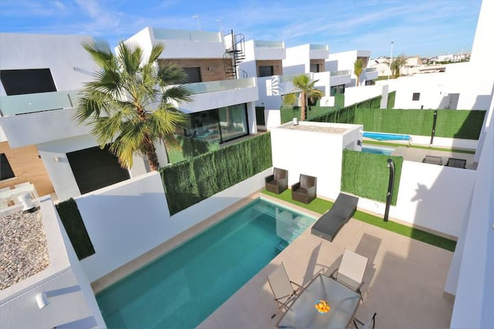 Modern villa with private swimming pool near beach