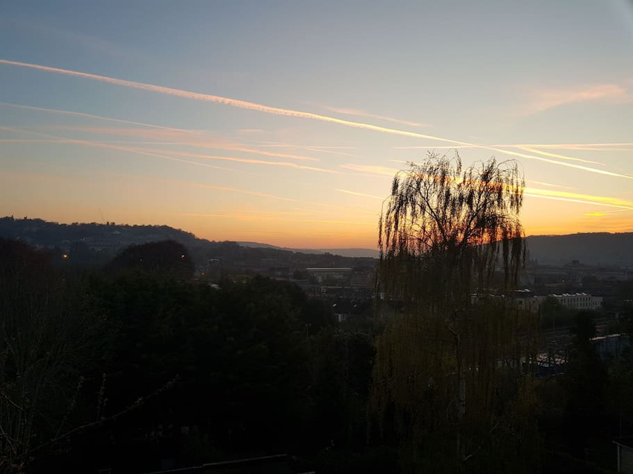 View of sunrise from bedroom window