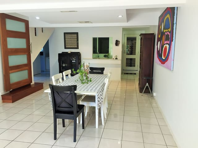The dining/living area and through to the kitchen