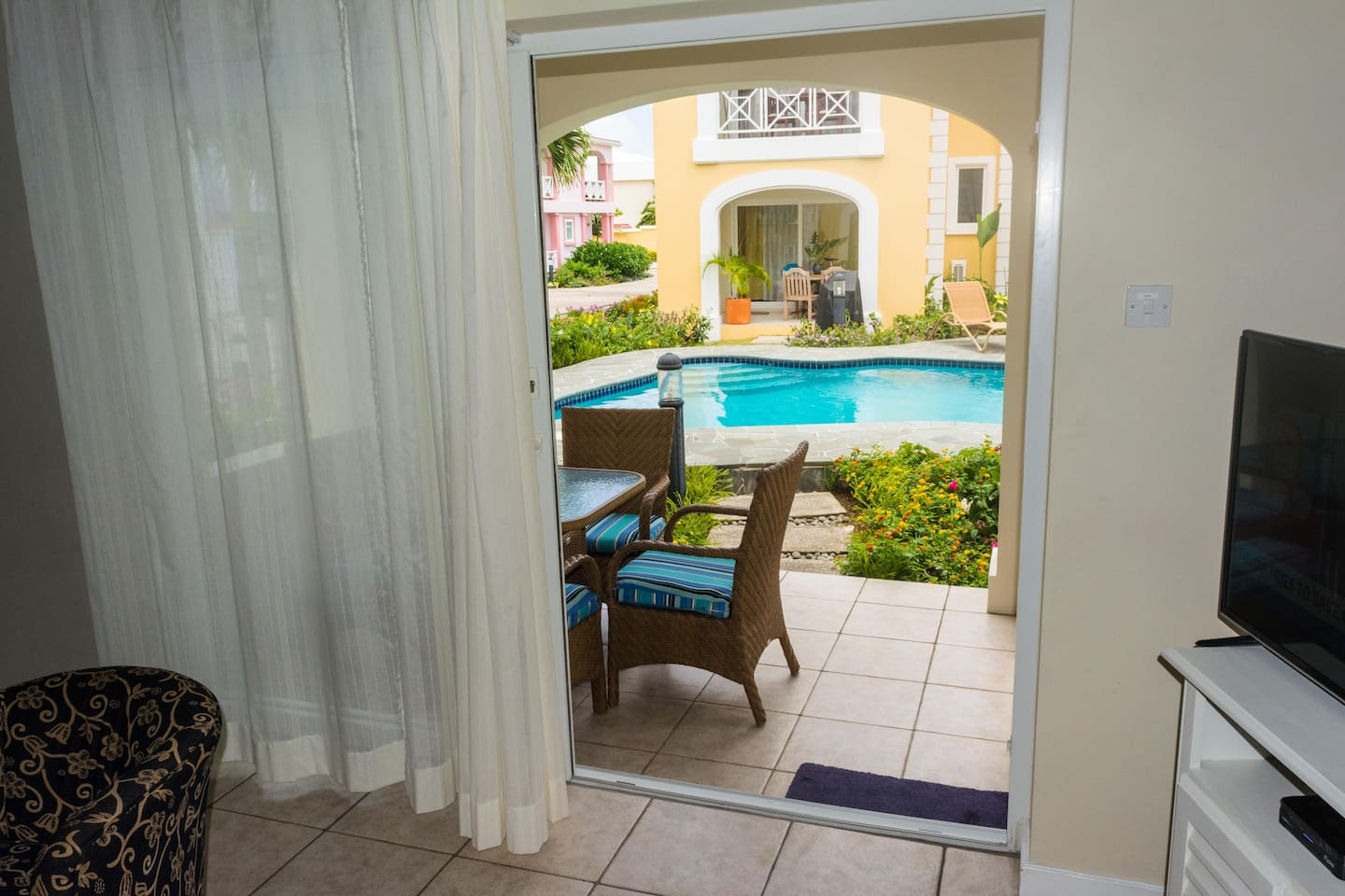 Patio leading to pool