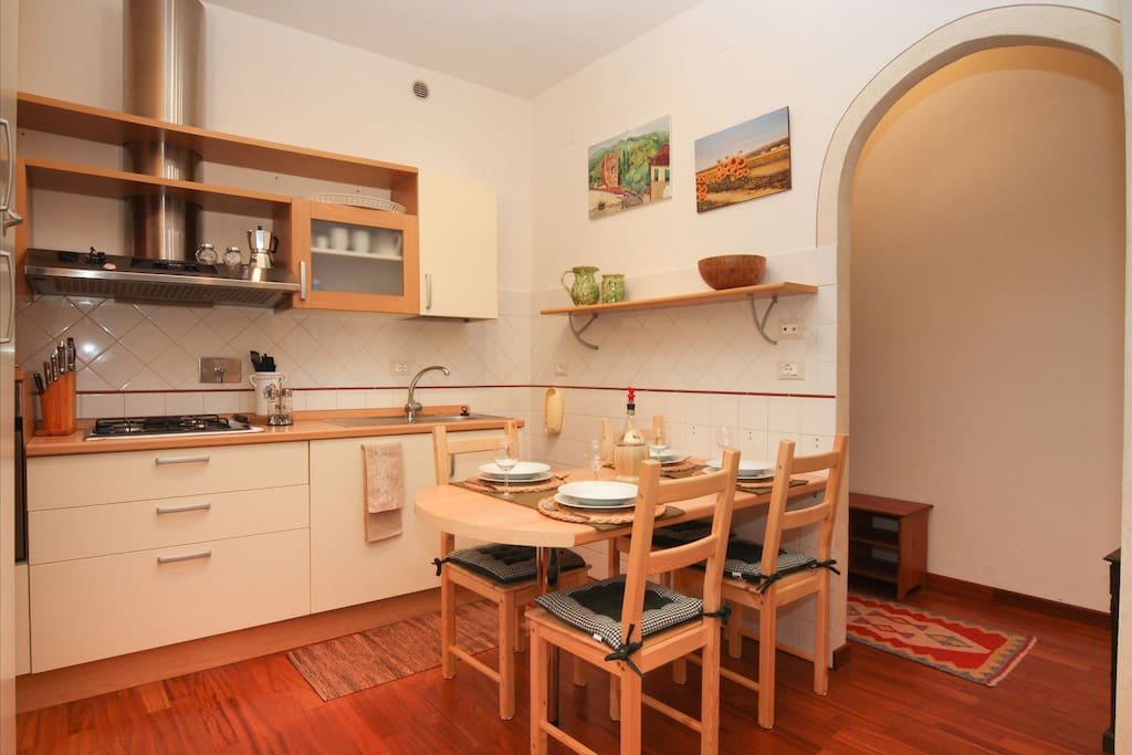 a modern and fully equipped kitchen
