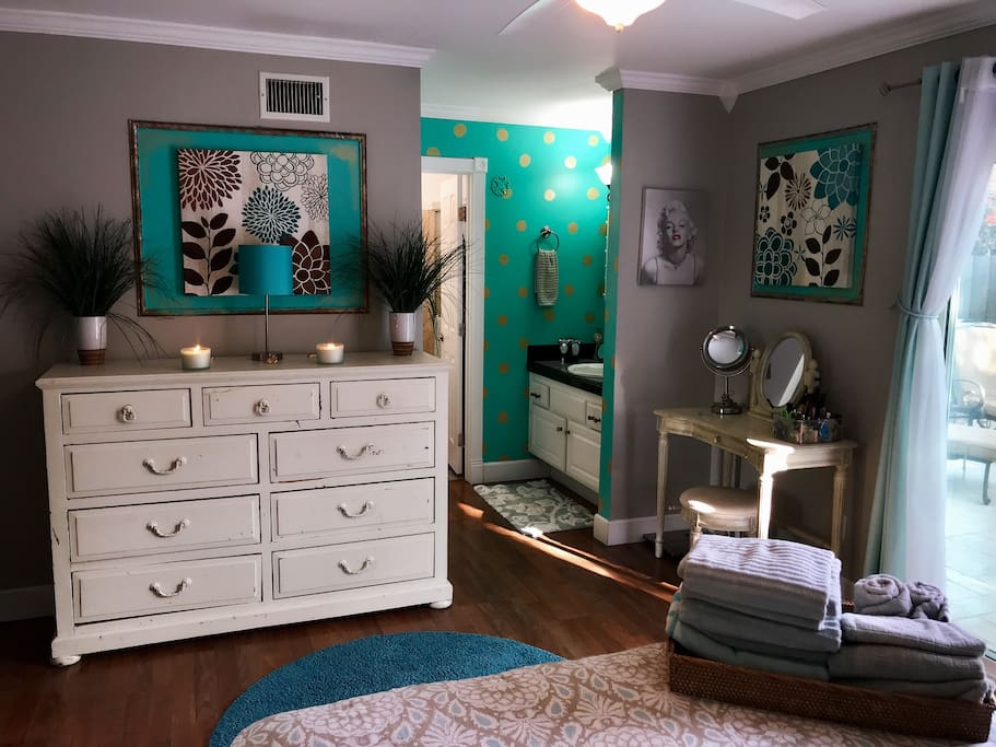 Vanity and attached Bathroom