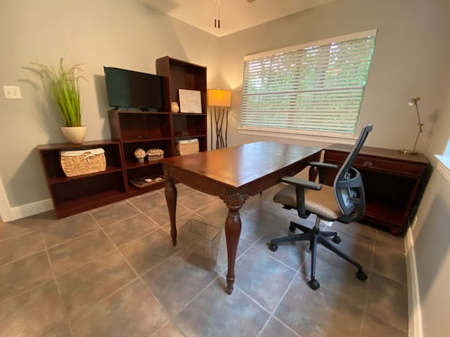 This space is shown as an office, but is currently being furnished to be a bedroom.