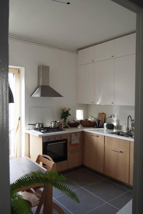 Grande cuisine équipée séparée du reste du logement.