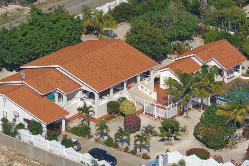 An arial view of Villa Lunt shows the large property and large villa  - when you rent Villa Lunt, this is all yours.