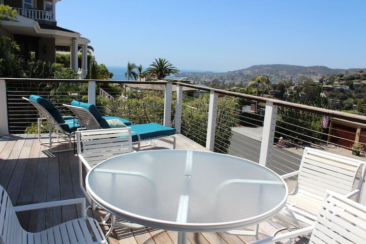 Sunny front deck with ocean view