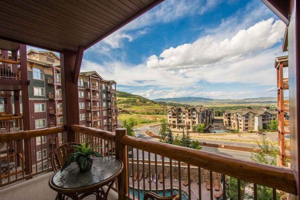 Your private balcony, just off of the living room with patio set.