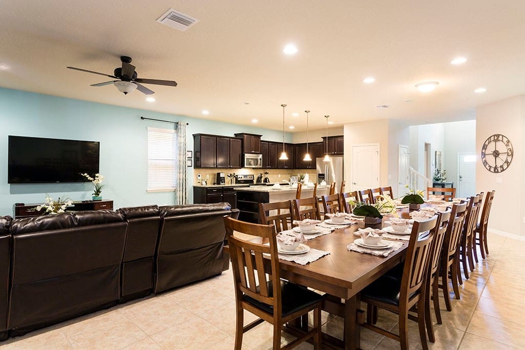 First floor kitchen, dining and living