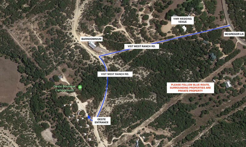 Please note the last stretch to the property marked in blue is an off terrain, unpaved, caliche road.