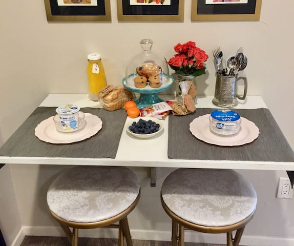 Enjoy the welcome basket on your first morning.  This is a sampling of treats to get you going and changes from time to time.