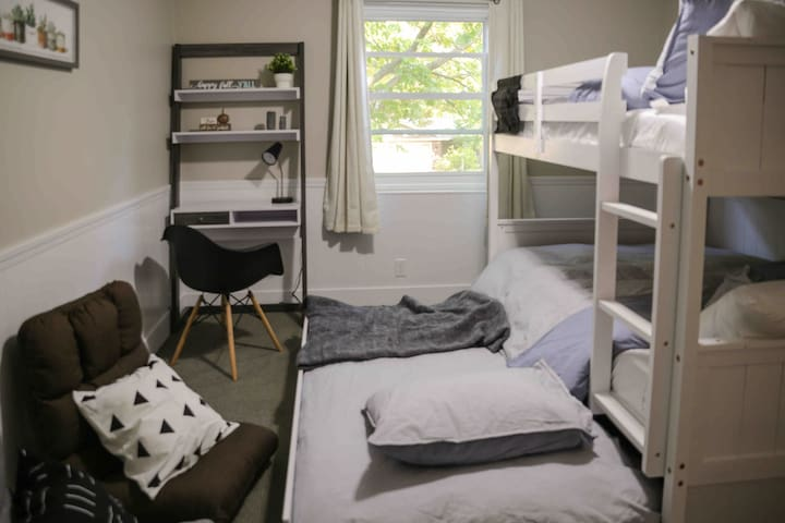 Inside the bedroom with the bunk bed, ideal for younger guests.