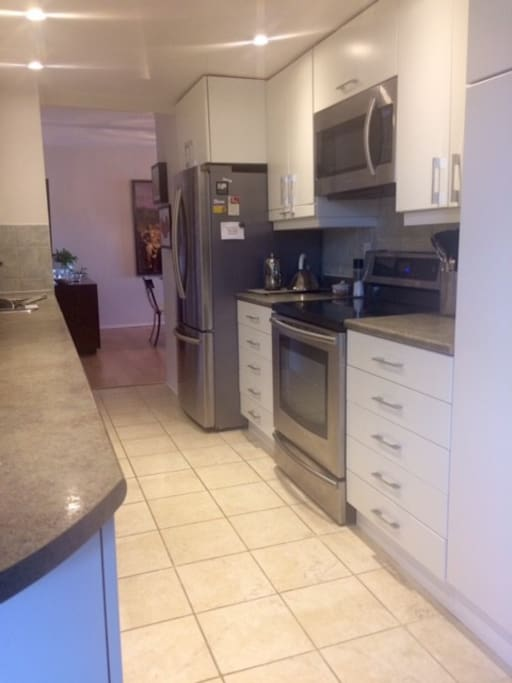 well equipped kitchen with induction range, dishwasher, frig, microwave and all the essentials