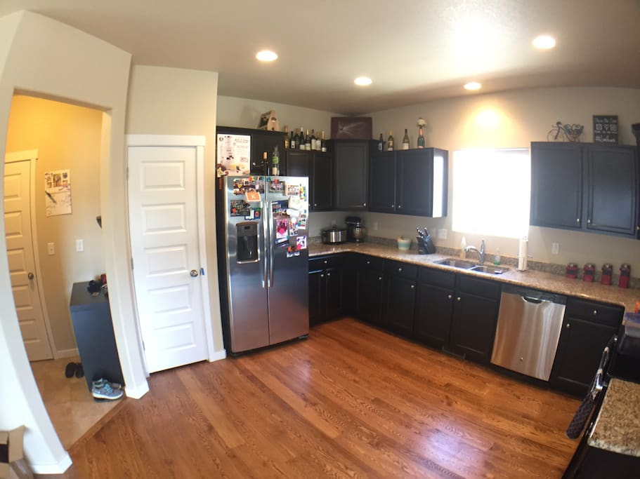 Shared kitchen with plenty of fridge and cabinet space.