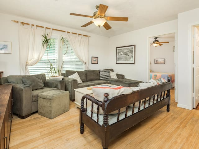 Dog-friendly home with ocean views, peaceful location, and spacious shaded deck!