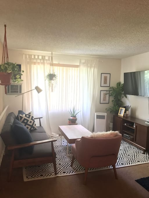 Living space: Great light, couch folds out, AC unit in corner