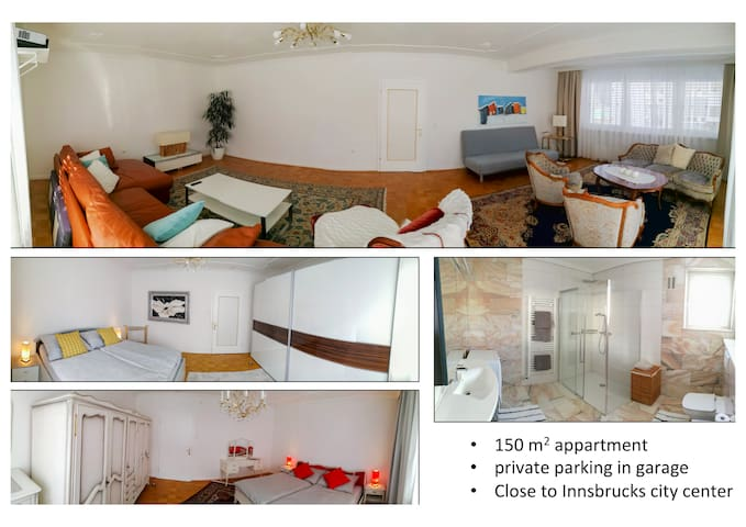 family friendly 150m2 apartment, private parking