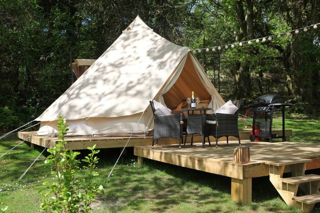 Each of our tents have their own private decks with seating, BBQ and solar lighting