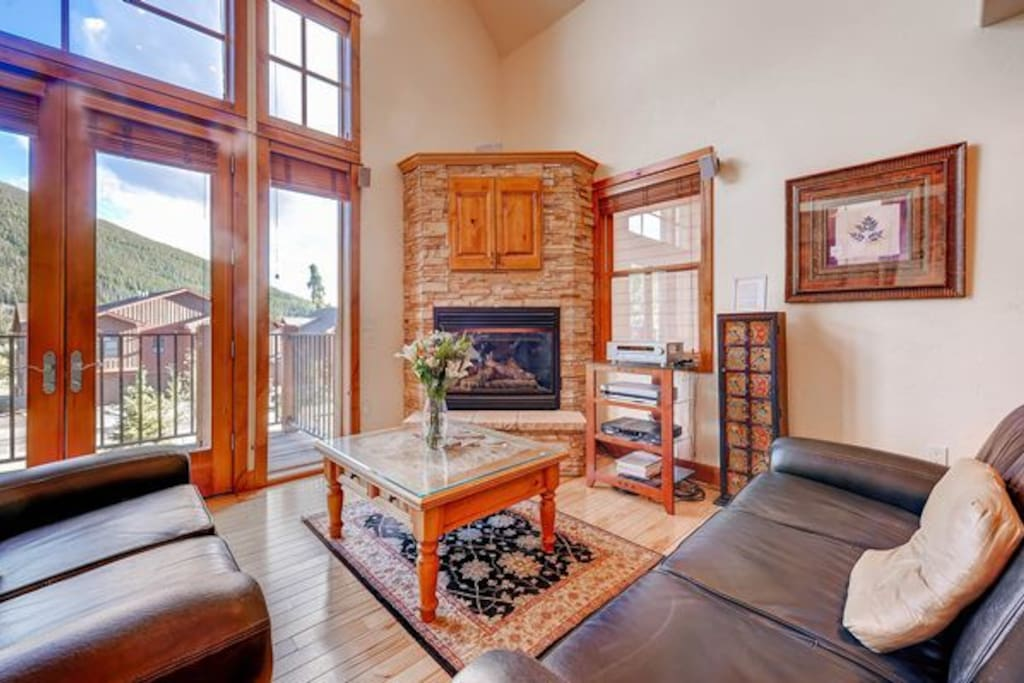 Enjoy relaxing next to the gas fireplace.