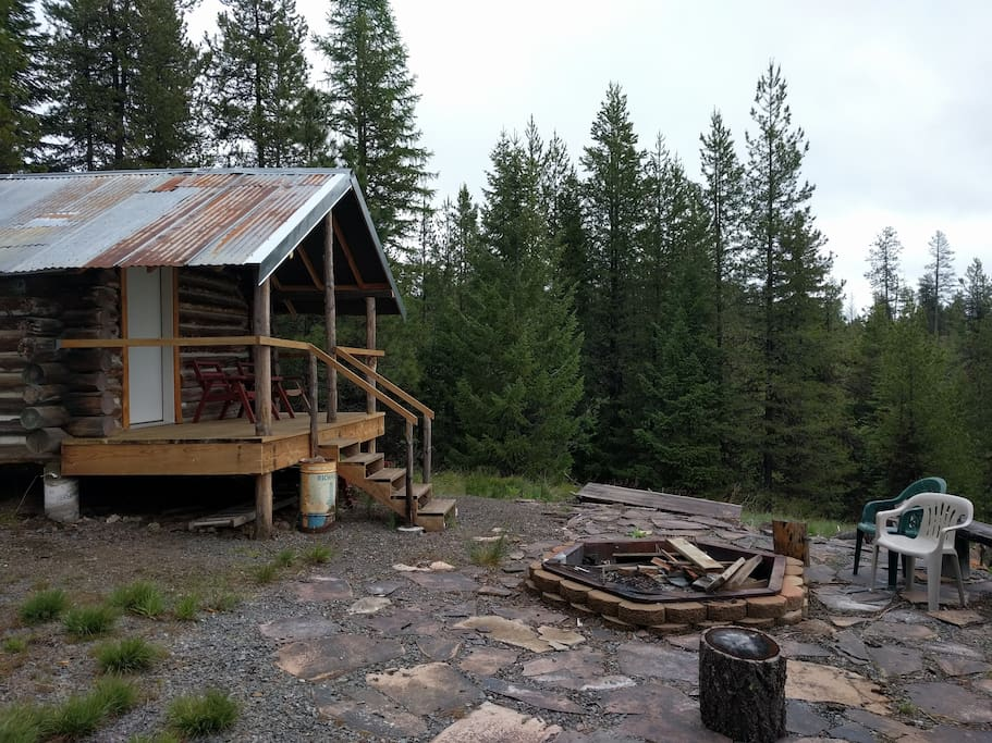 Fire pit and cabin deck