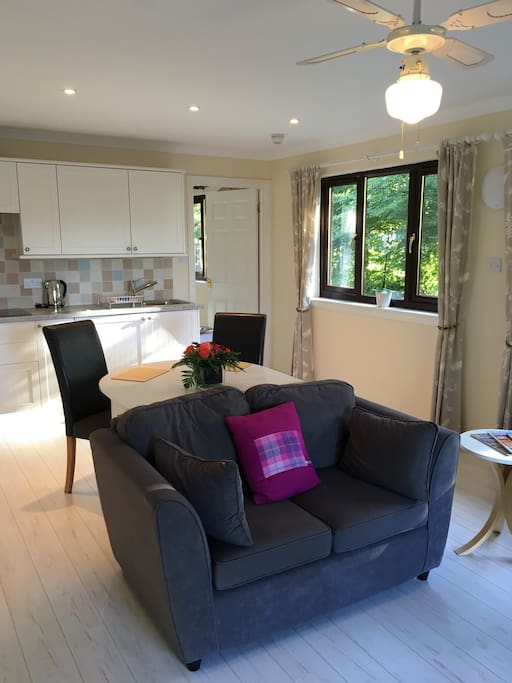 The spacious open plan kitchen/dining/lounge area