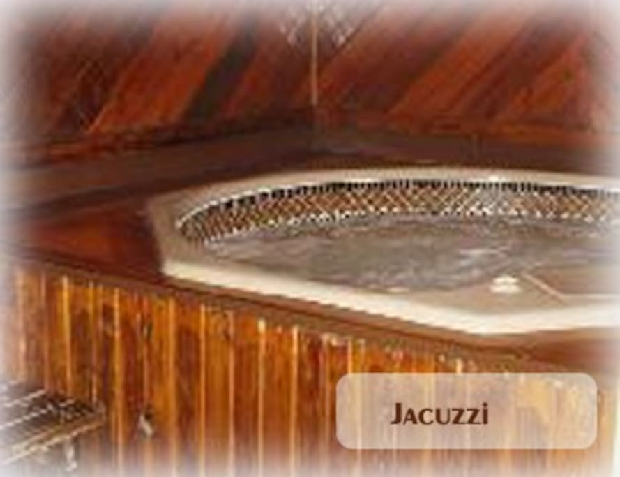 we have a private jacuzzi in a huge cedar lined room. Only runs in winter.