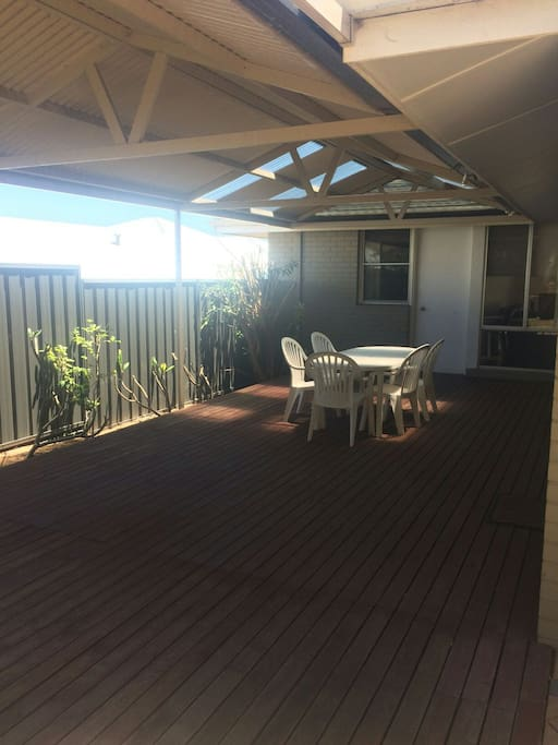 Back outdoor decking area