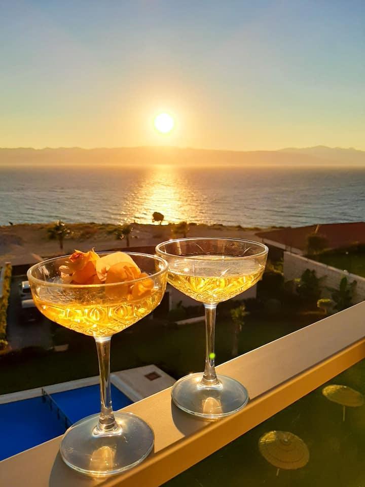 Panoramik deniz manzaralı teras dairesi residence