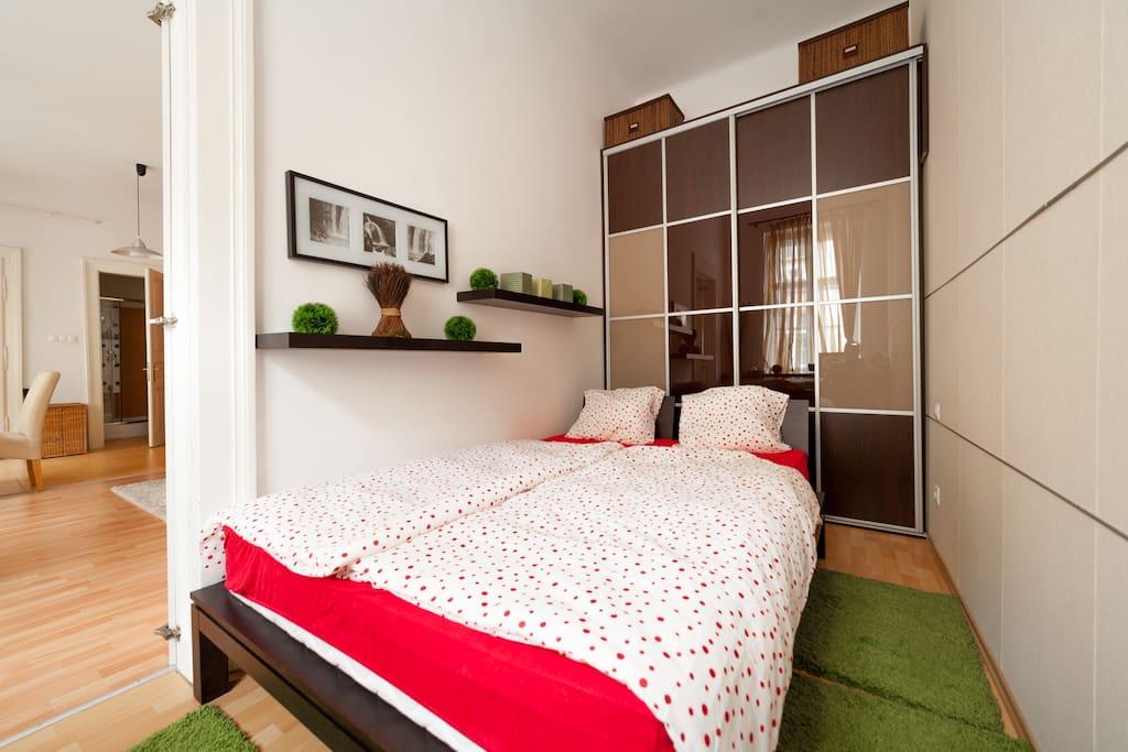 Bedroom with big wardrobe