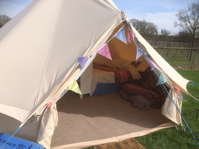 Glamping 5 metre diameter furnished Bell Tent