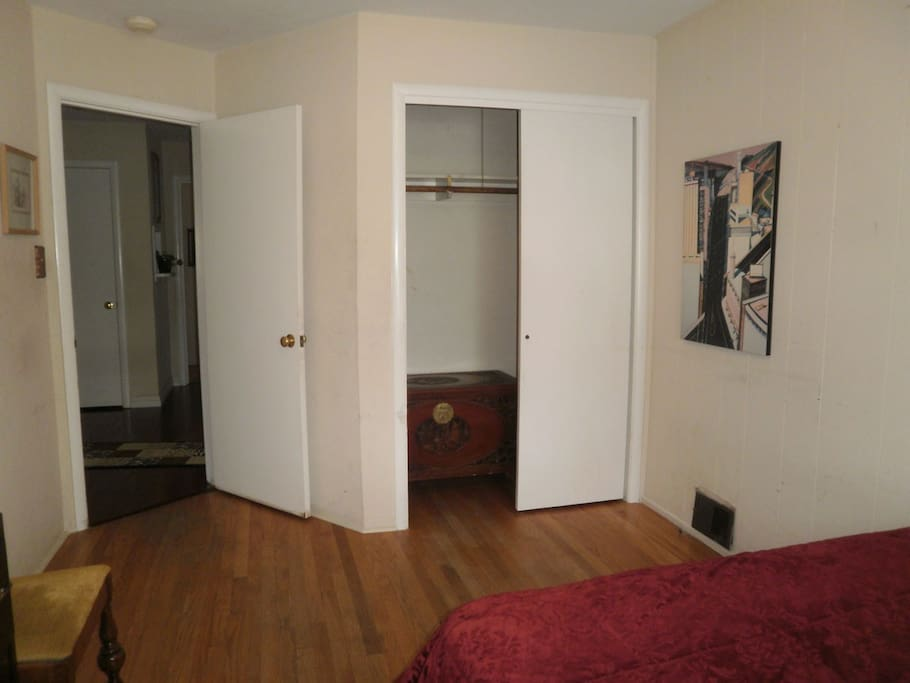 Plenty of private in-room closet space available. Other secure storage space also available.
