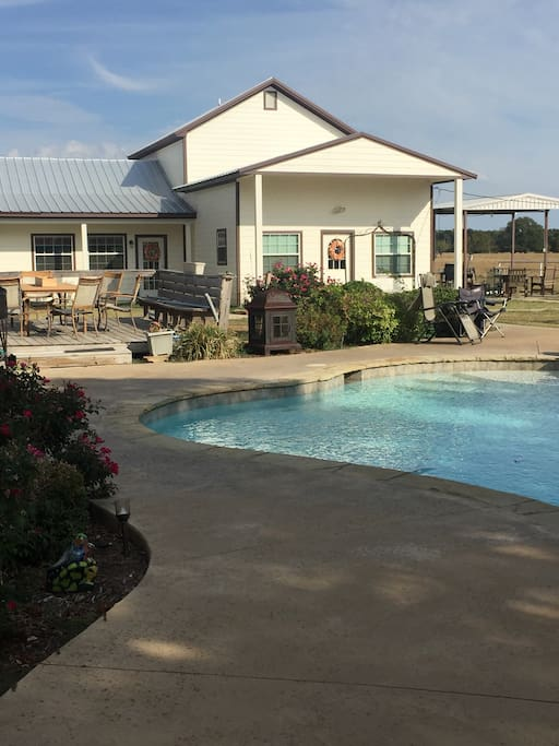 Swimming pool, hot tub and out door entertainment areas.