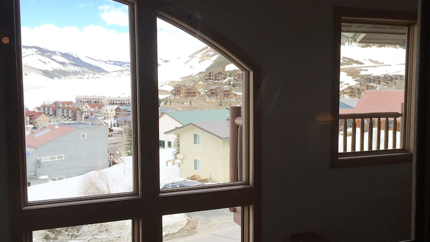 view from master bed! just lay in bed and watch the mountains