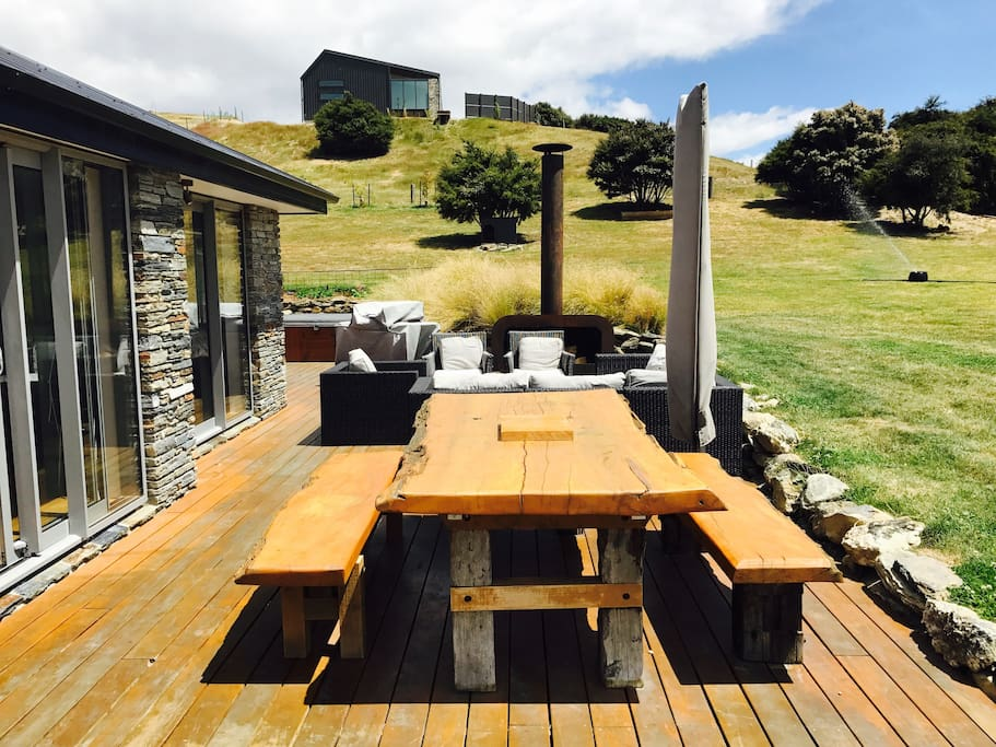 Outdoor living space. Big kauri table for outdoor dining