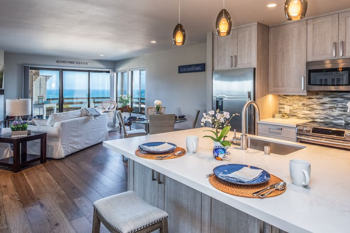 Beautiful remodel with an ocean view.