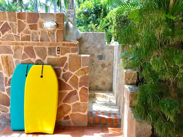 boogie boards & outdoor shower