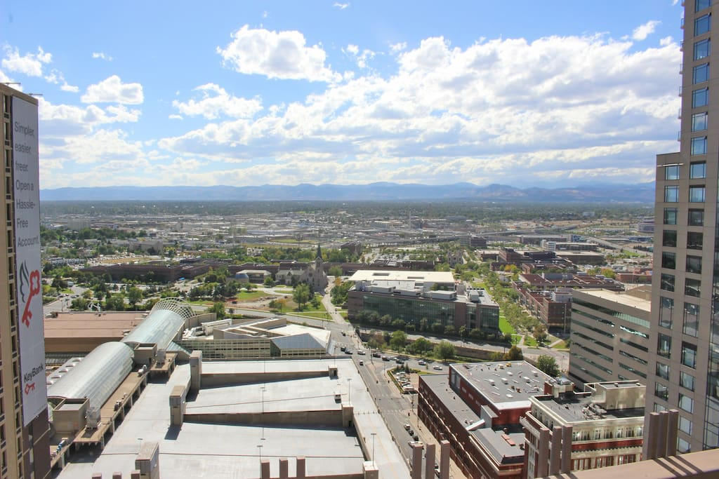 Open Balcony 30th story view of the Rocky Mountains