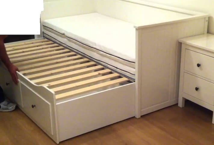 It's a pull-out bed; you can spread the two mattress apart