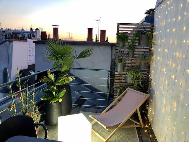 Loft 85m2avec terrasse sur le toit dans le Marais