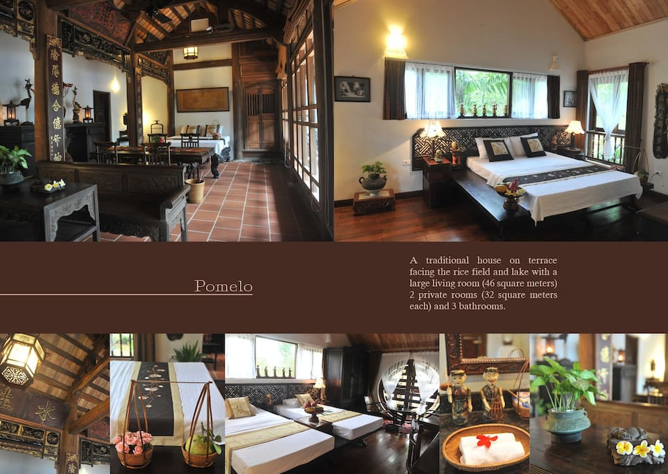 Pomelo House - A traditional house on terrace facing the rice field and lake with a large living room (46 square meters) 2 private rooms (32 square meters each) and 3 bathrooms.